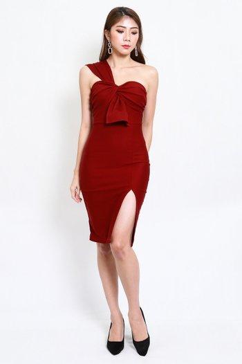 *Premium* Festive Toga Midi Dress (Maroon)