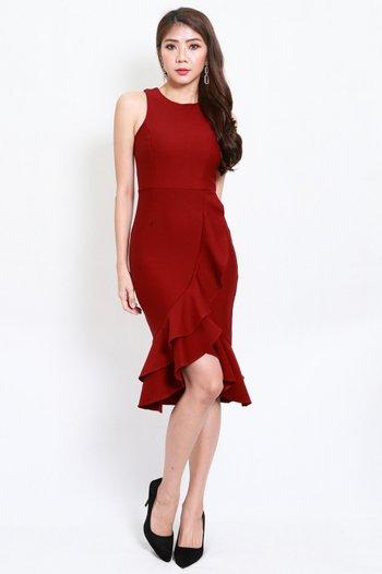 *Premium* Ruffle Hem Mermaid Dress (Maroon)