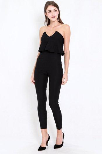 V Flutter Jumpsuit (Black)