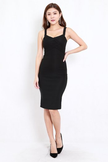 Braided Midi Dress (Black)