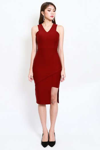 *Premium* Asymmetrical V Midi Dress (Maroon)