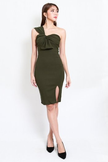 Festive Toga Midi Dress (Olive)