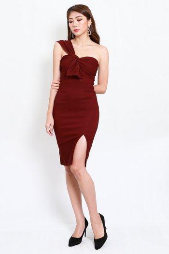Festive Toga Midi Dress (Maroon)