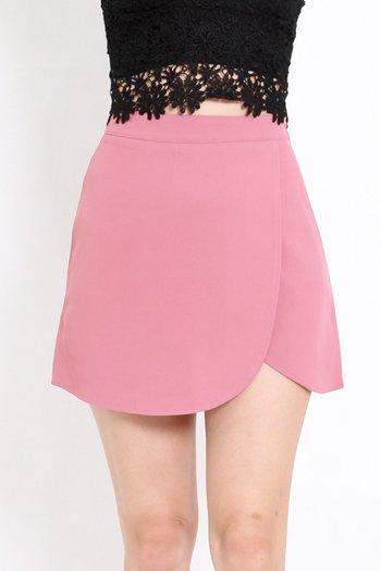 Curve Hem Overlap Skirt (Pink)