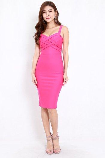 *Premium* Braided Midi Dress (Barbie Pink)