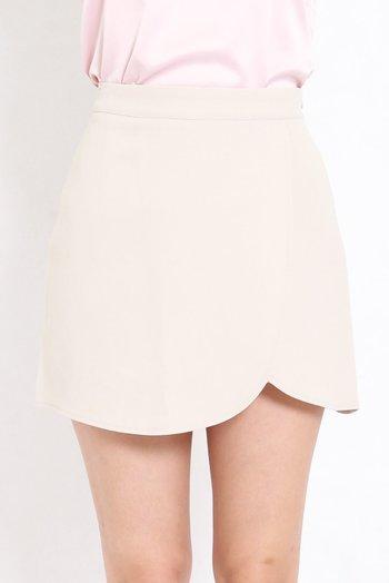 Curve Hem Overlap Skirt (Ivory)