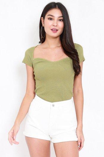 Sweetheart Cap Sleeve Top (Green)