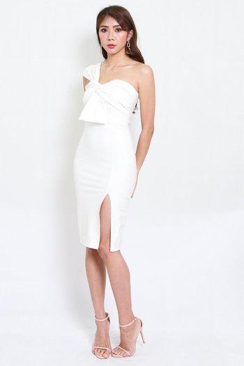 *Premium* Festive Toga Midi Dress (White)