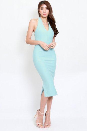 *Premium* Low Back Halter Dress (Tiffany Blue)