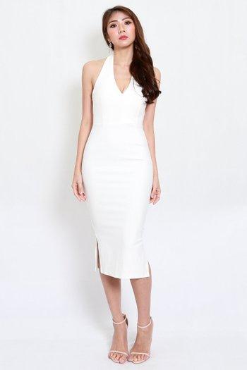 *Premium* Low Back Halter Dress (White)