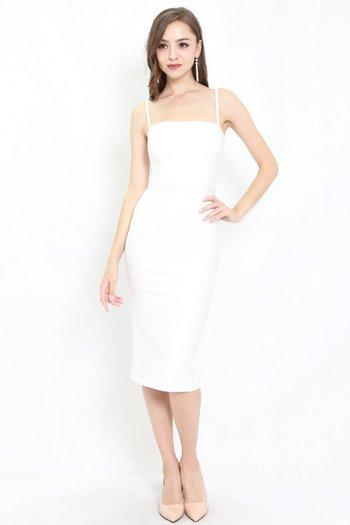 *Premium* Classic Midi Spag Dress (White)