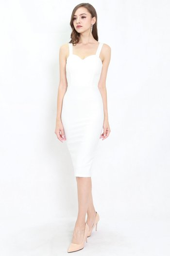 *Premium* Classic Sweetheart Midi Dress (White)