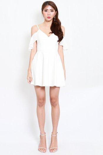 *Premium* Chiffon Sleeve Skater Dress (White)