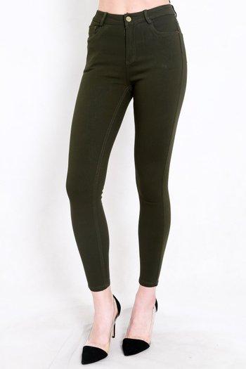 Skinny High Waist Jeans (Olive)