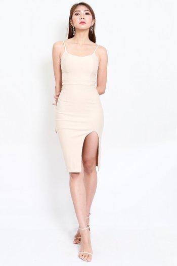 *Premium* Scoop Neck Slit Spag Dress (Ivory)