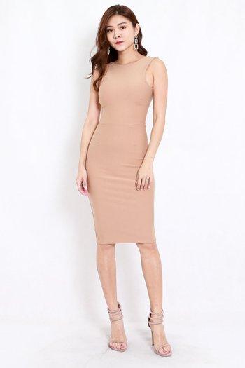 *Premium* Low Back Midi Dress (Skin-Nude)