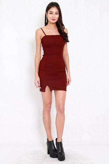 Classic Slit Mini Dress (Maroon)