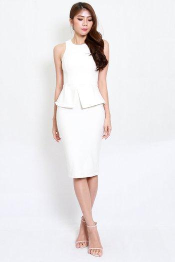 *Premium* Kate Peplum Midi Dress (White)