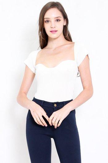 Sweetheart Cap Sleeve Top (White)