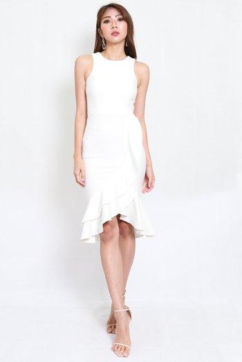 *Premium* Ruffle Hem Mermaid Dress (White)