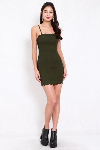 Scallop Spag Dress (Olive)