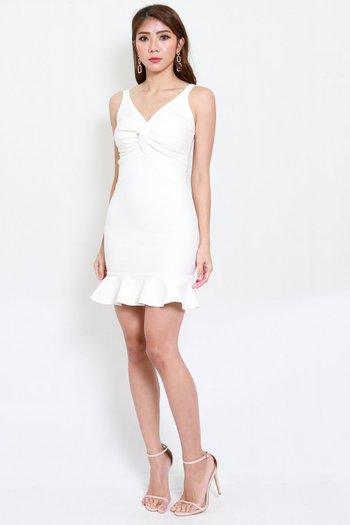 *Premium* Twist Knot Mermaid Dress (White)
