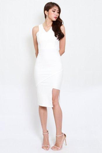 *Premium* Asymmetrical V Midi Dress (White)