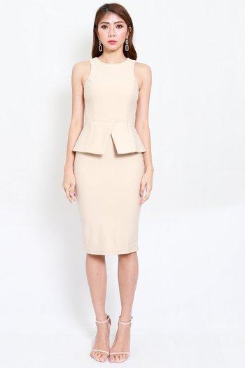 *Premium* Kate Peplum Midi Dress (Ivory)