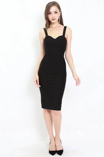 *Premium* Classic Sweetheart Midi Dress (Black)