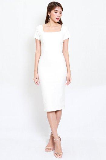 *Premium* Square Neck Sleeved Midi Dress (White)