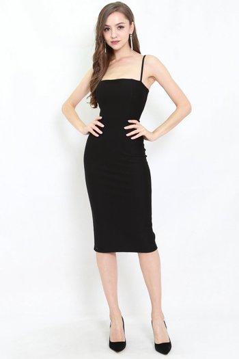 *Premium* Classic Midi Spag Dress (Black)