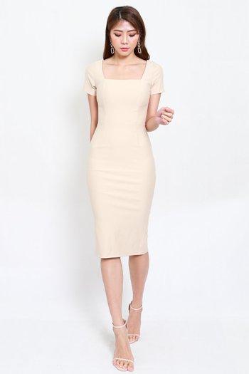 *Premium* Square Neck Sleeved Midi Dress (Ivory)