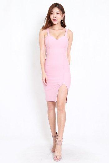 *Premium* Sweetheart Low Back Slit Midi Dress (Light Pink)