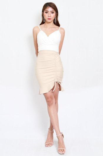 *Premium* Drawstring Scrunch Skirt (Ivory)