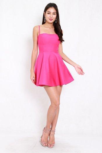 *Premium* Classic Skater Spag Dress (Barbie Pink)