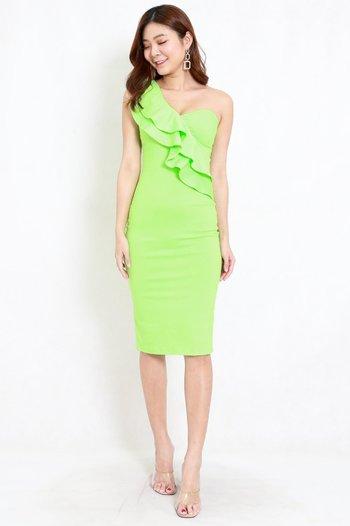 Ruffle Toga Midi Dress (Lime)