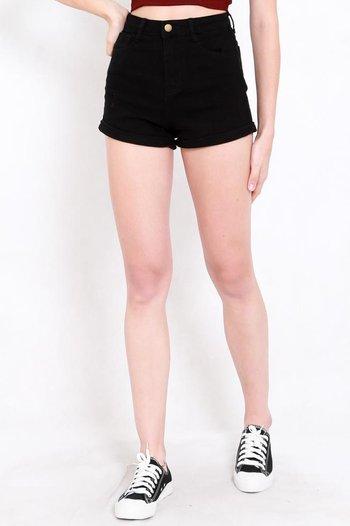 Fitted Denim Shorts (Black)