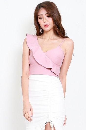*Premium* Ruffle Toga Spag Top (Light Pink)