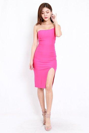 *Premium* Slit Toga Midi Dress (Barbie Pink)