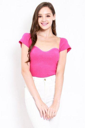 Sweetheart Cap Sleeve Top (Barbie Pink)