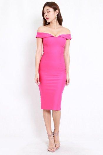*Premium* Sweetheart Midi Dress (Barbie Pink)