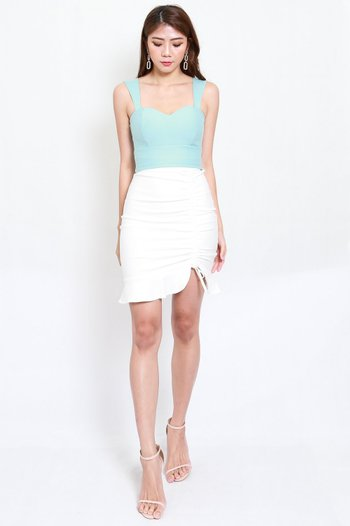 *Premium* Drawstring Scrunch Skirt (White)
