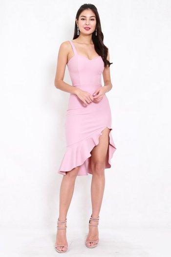 *Premium* Sweetheart Ruffle Slit Dress (Light Pink)