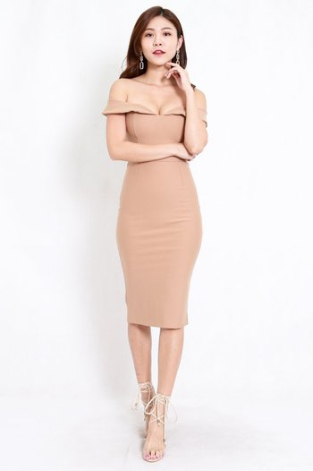 *Premium* Sweetheart Midi Dress (Skin-Nude)