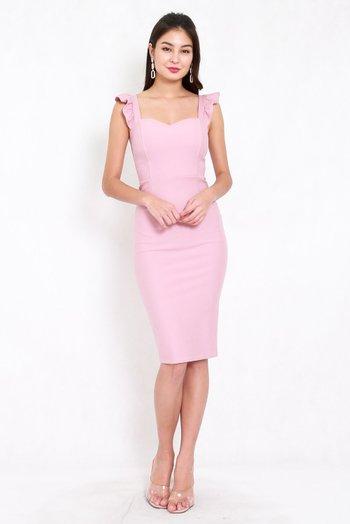 *Premium* Ruffle Sleeve Midi Dress (Light Pink)