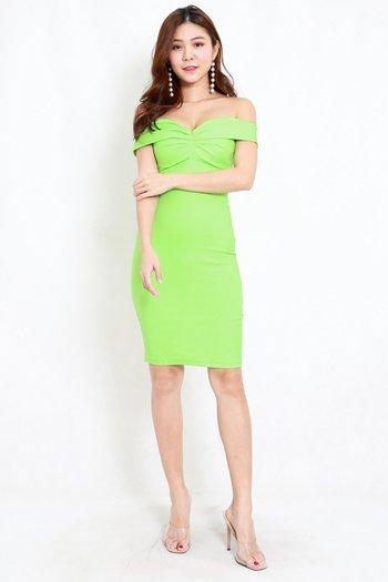 Madi Sweetheart Off Shoulder Dress (Lime)