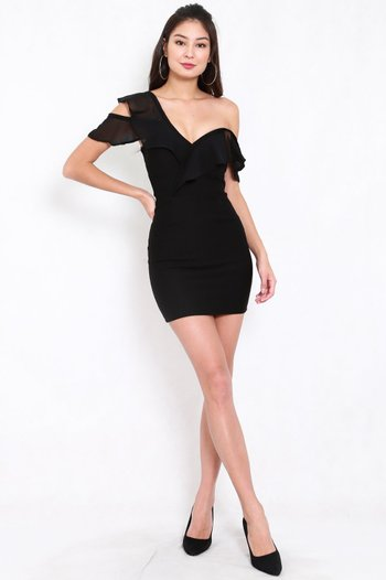*Premium* Chiffon Ruffle Sweetheart Dress (Black)