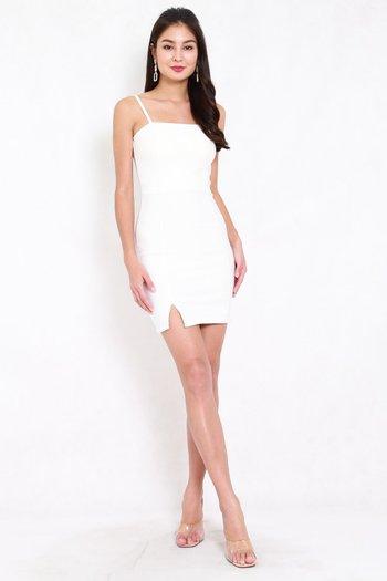 *Premium* Classic Slit Mini Dress (White)