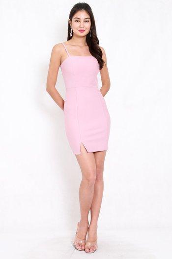 *Premium* Classic Slit Mini Dress (Light Pink)