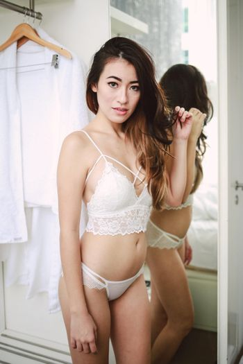 Cross Front Lacey Bralette (White)